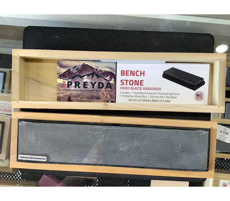 "30960--Preyda, Hard Black Arkansas Bench Stone 10""x2""x1/2"""
