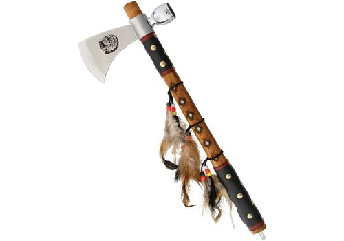"""Frost Cutlery Tomahawk from Frost Cutlery.  16.5"""" overall with Leather Wrapped Wood Handle & Feather Detail, F19601"""