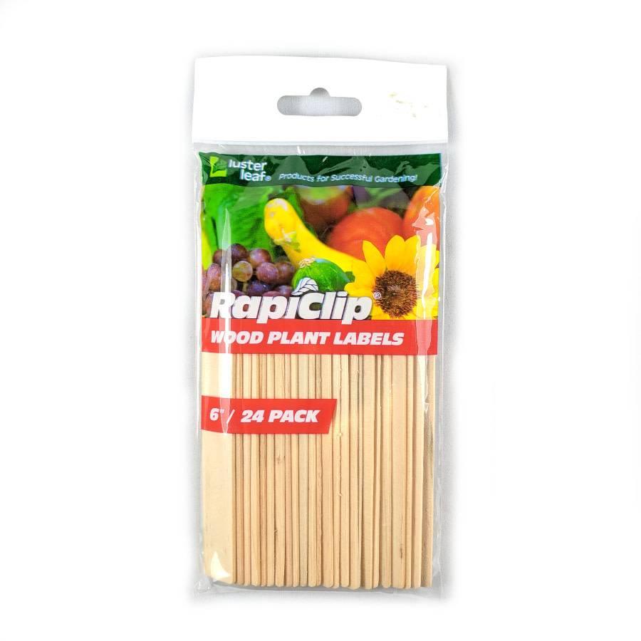"""Luster Leaf Étiquette bois Rapiclip 6"""" Pqt 24"""