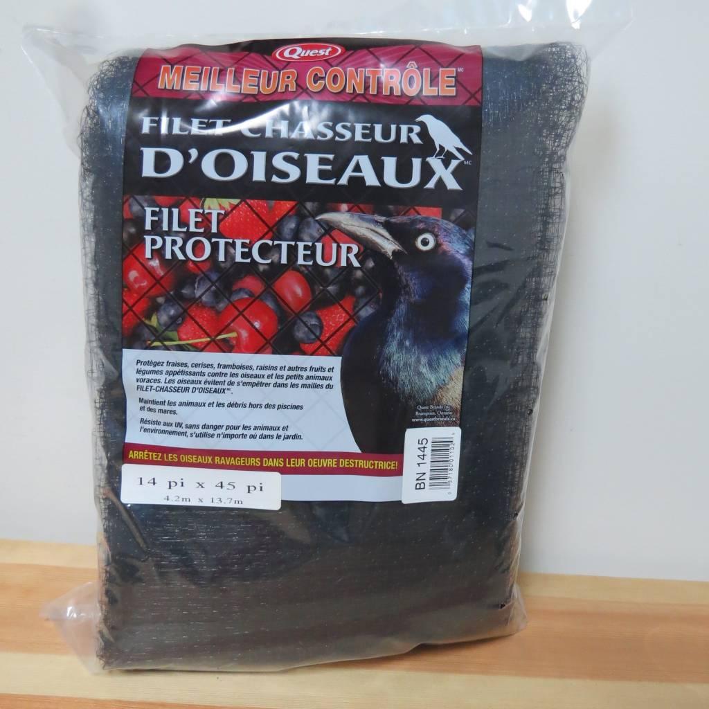 Quest Filet chasseur d'oiseaux noir Quest 14'x45'