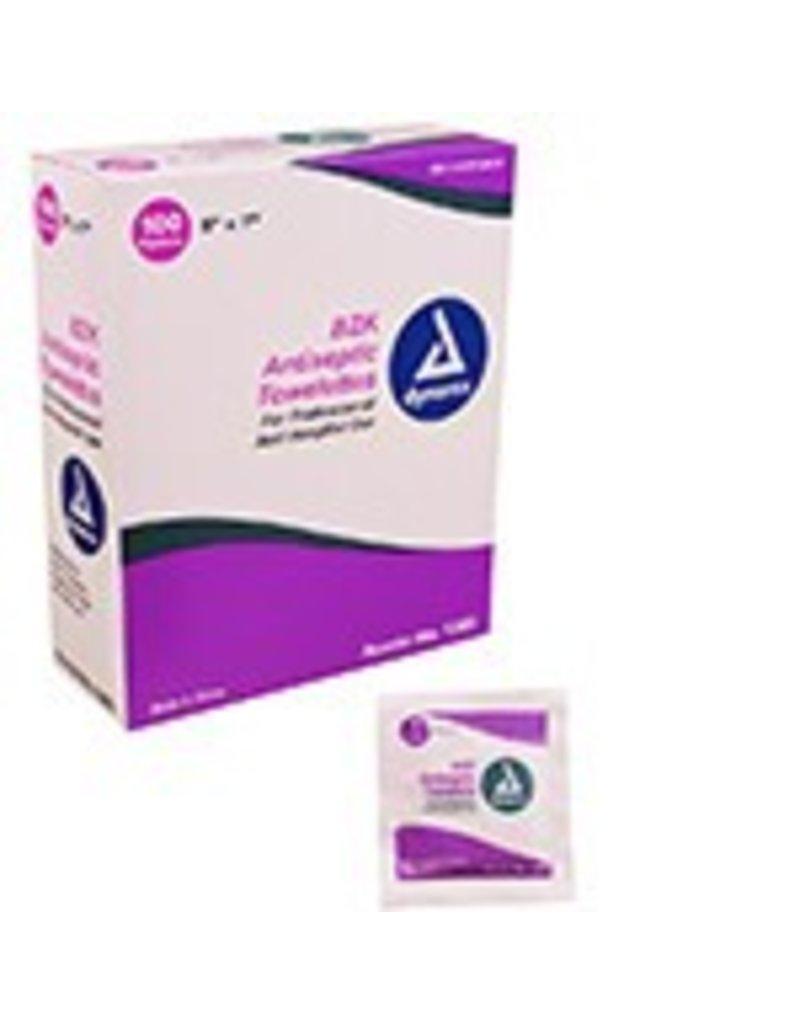 """BZK Antiseptic Towelettes 5""""x7"""" - 100/box single"""