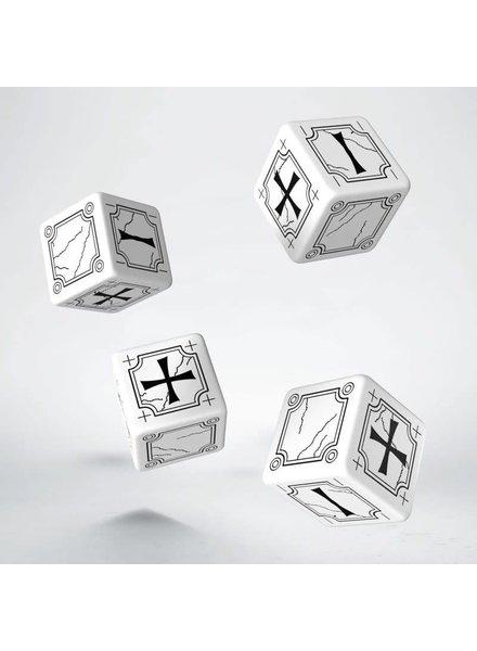 Ancient Fudge D6 Black & White Dice Set By Q-Workshop Dice