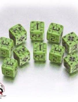 Battle Dice D6 German Green & Black Dice Set By Q-Workshop Dice