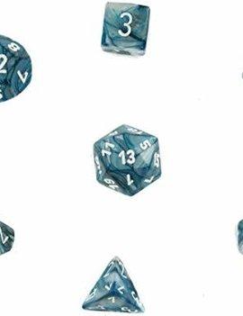 Chessex: Lustrous Slate/White 7-Die Set