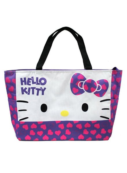 Eikoh Hello Kitty Large Tote Shoulder Bag w/ Heart Design - Purple Bow