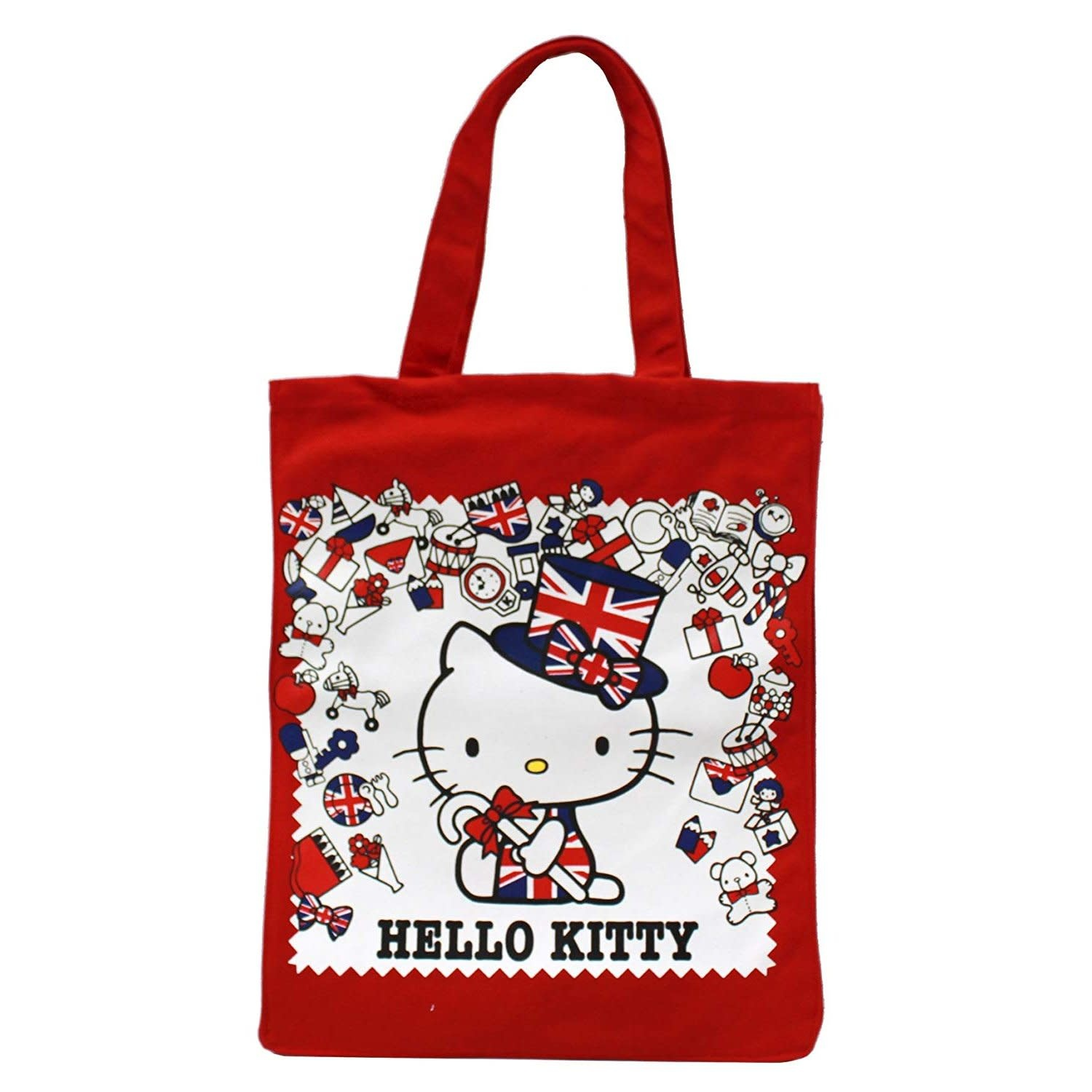 "Hello Kitty Union Jack 15"" Red Canvas Tote Bag"
