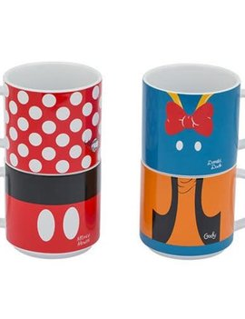 Disney Mickey and Friends Stacking Ceramic Mug 4-Pack