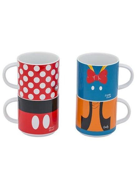 Disney Mickey and Friends Stacking Ceramic Mug 4-Pack