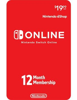 12 Month Nintendo Switch Online Subscription Card
