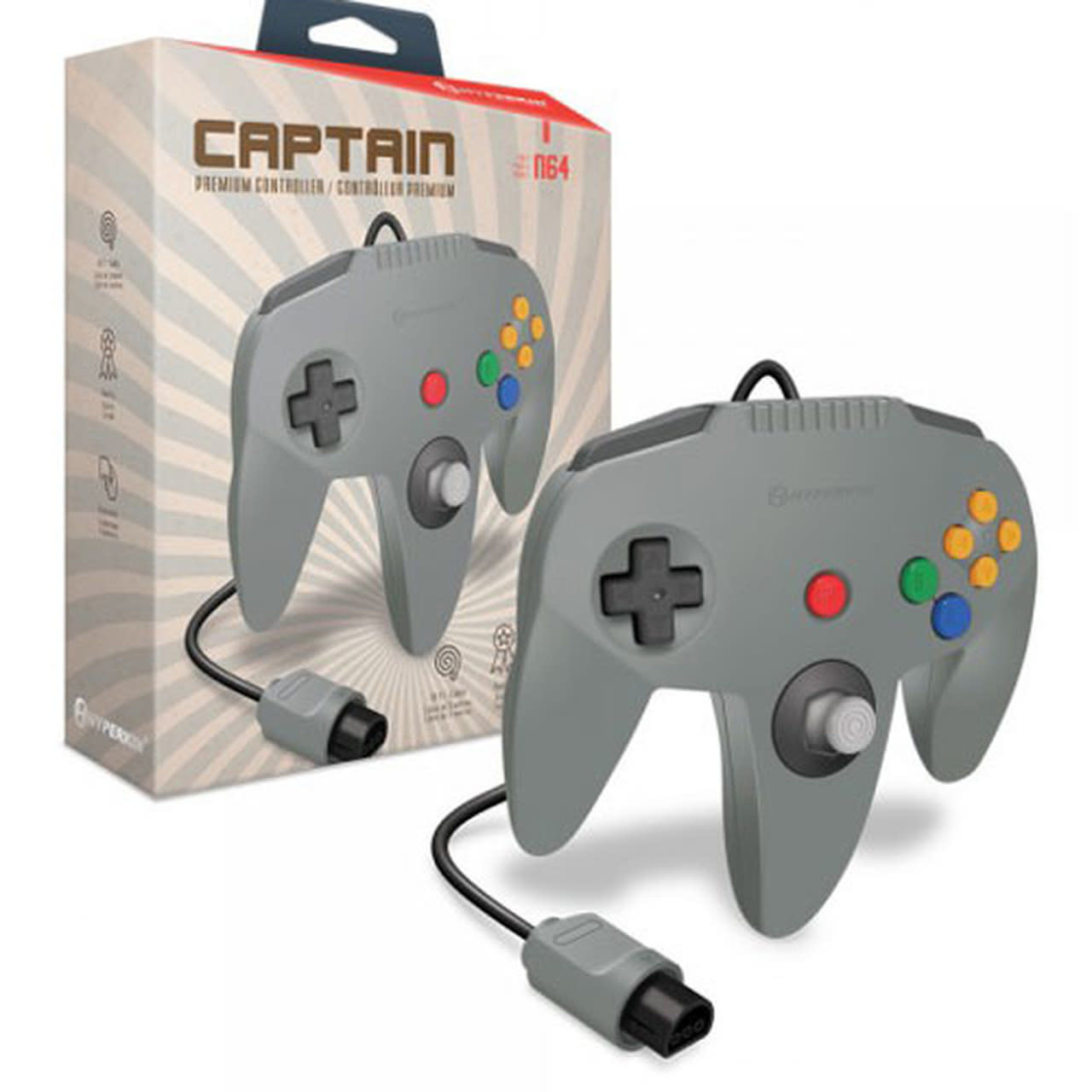 """Captain"" Premium Controller for N64 (Gray) - Hyperkin"