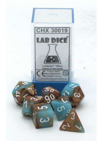 Chessex Gemini 7-Die Set Copper-Turquoise/White