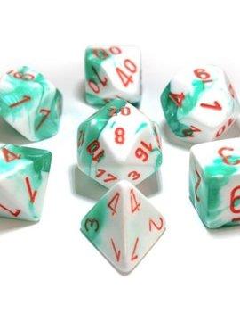 Chessex: Gemini 7-Die Set Mint Green-White/Orange
