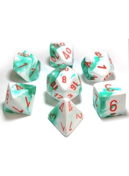 Chessex Gemini 7-Die Set Mint Green-White/Orange