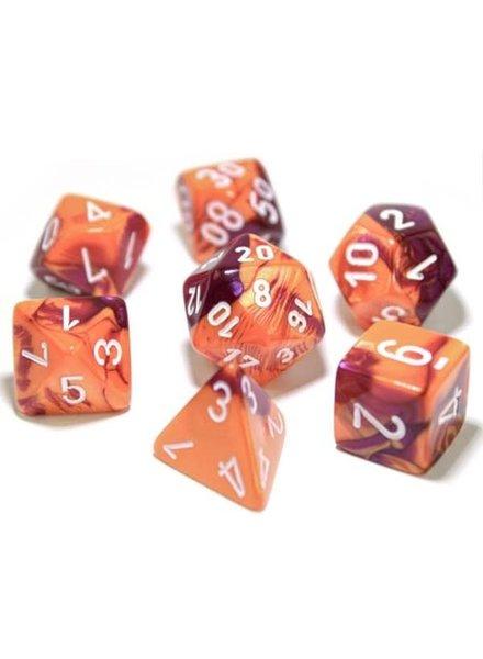 Chessex Gemini 7-Die Set Orange-Purple/White