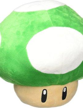 "Little Buddy Super Mario Bros Jumbo Mushroom Green 17.7"" Plush"