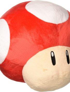"Little Buddy Super Mario Bros Jumbo Mushroom Red 17.7"" Plush"