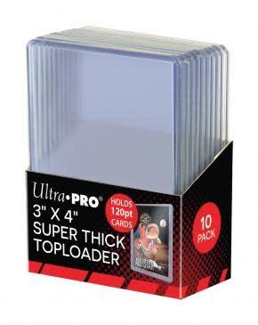 "Ultra Pro 3"" X 4"" Super Thick 120PT Toploader 10ct."