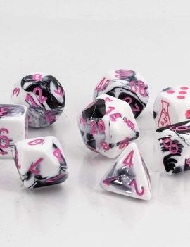 Chessex Chessex Lab Dice 7-Set: Gemini Black / White / Pink