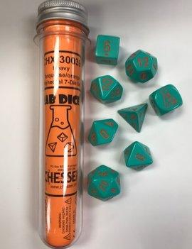 Chessex Chessex Lab Dice 7-Set: Heavy Turquoise / Orange