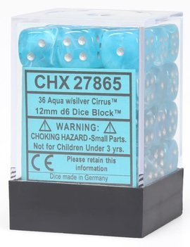 Chessex D6 Cube 12mm - Cirrus Aqua / Silver