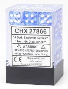 Chessex D6 Cube 12mm - Nebula Dark Blue / White