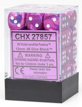 Chessex D6 Cube 12mm - Festive Violet / White