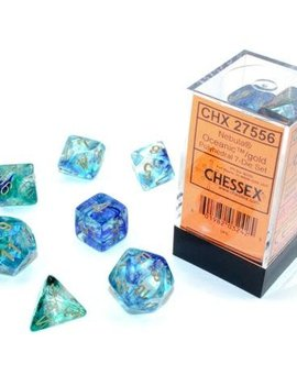 Chessex Chessex: Luminary 7-Set Dice: Nebula Oceanic / Gold