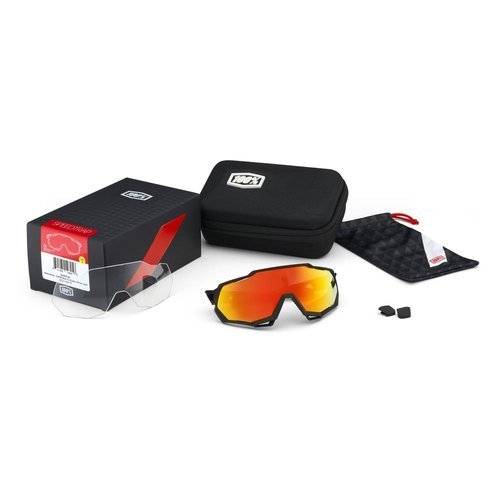 100% 100% Lunettes Speedtrap - Soft Tact Black - HiPER Red Multilayer Mirror Lens