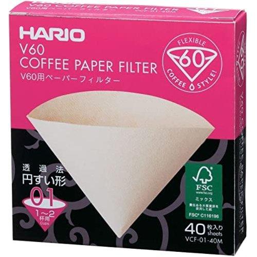 Hario Filtre Hario V60-01 Blanc 40 unité
