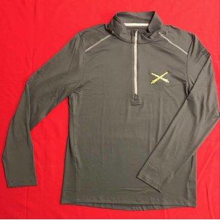 Men's Half Zip, Long Sleeve, Athletic Top - Grey Medium
