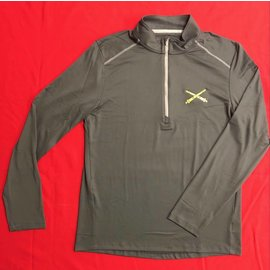 Men's Half Zip, Long Sleeve, Athletic Top - Grey Large