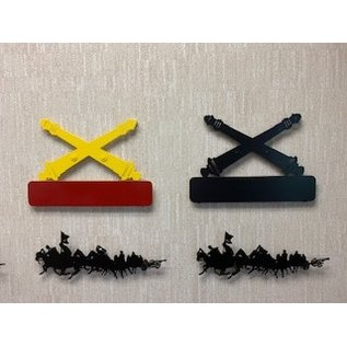 Metal Cross Cannon Wall Sign Red/Yellow (Customizable)
