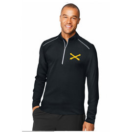 Men's Half Zip, Long Sleeve, Athletic Top - Black Large