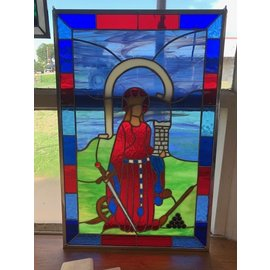 "St Barbara Stained Glass - 12""x19"""
