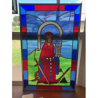 """St Barbara Stained Glass - 12""""x19"""""""