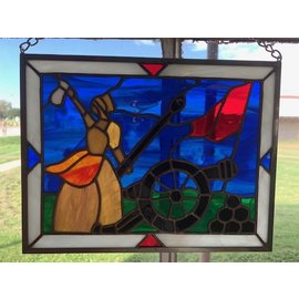 "Molly Pitcher Stained Glass - 9""x12"""