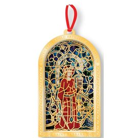 "Stained Glass Saint Barbara Ornament - 3"" Brass on Red Ribbon"