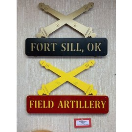 Metal Cross Cannon Hanging Sign with 3-D Name Plate (Customizable)