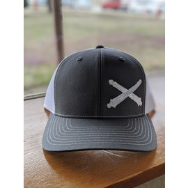 Grey & White Cross Cannon Trucker Hat
