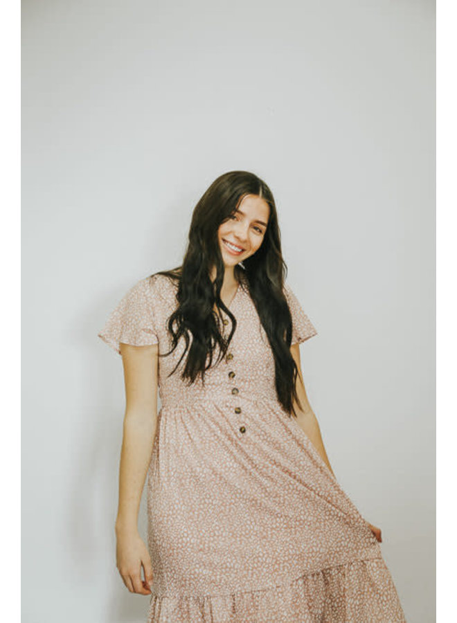 Quinn Dusty Pink Animal Print Dress