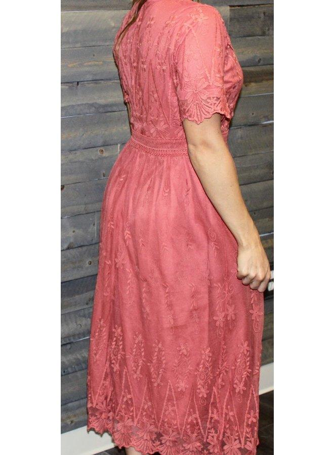 Salmon Lace Dress