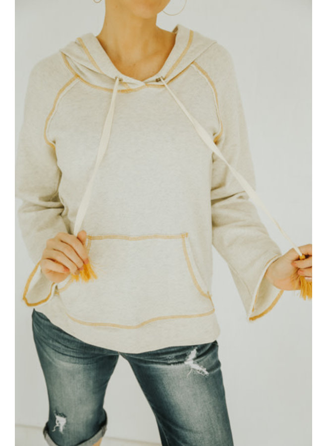 Oatmeal/Mustard Stitch Detailed Bell Sleeve French Terry