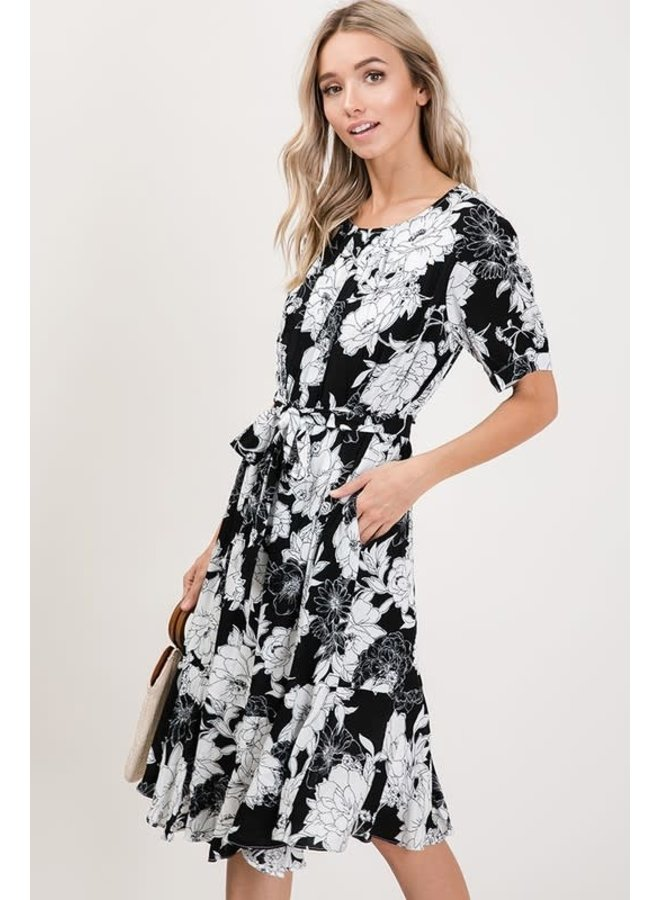 Black with white floral dress