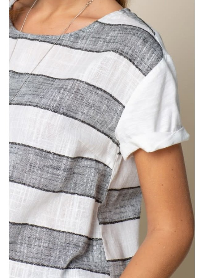 Mixed Fabric Black and White short sleeve shirt