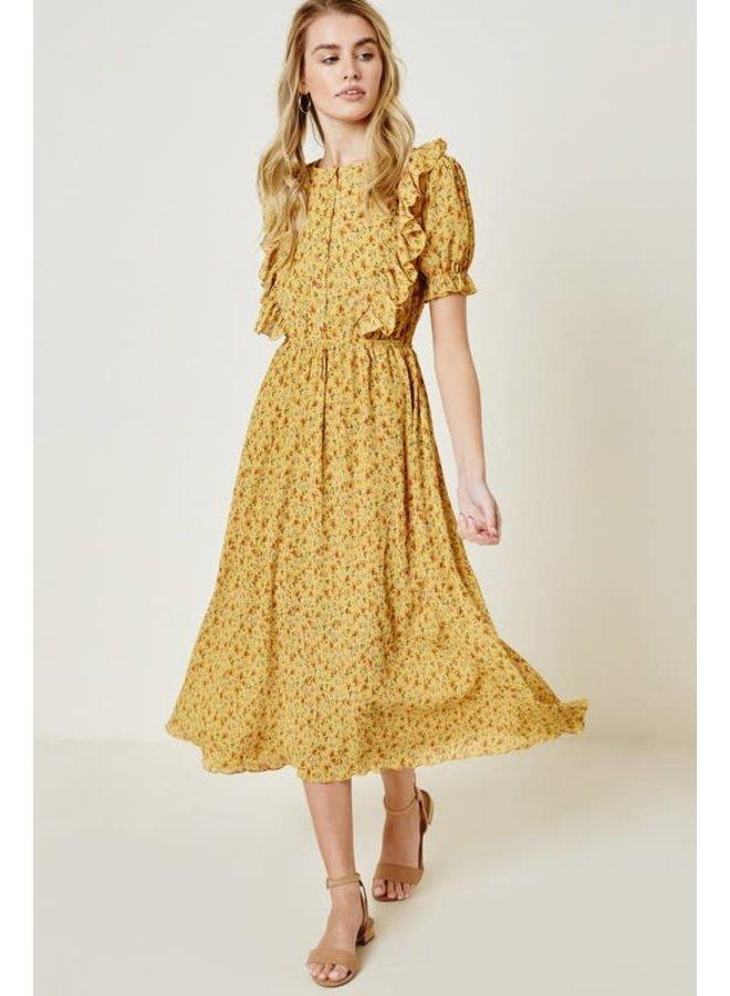 Floral Button-Down Midi Dress