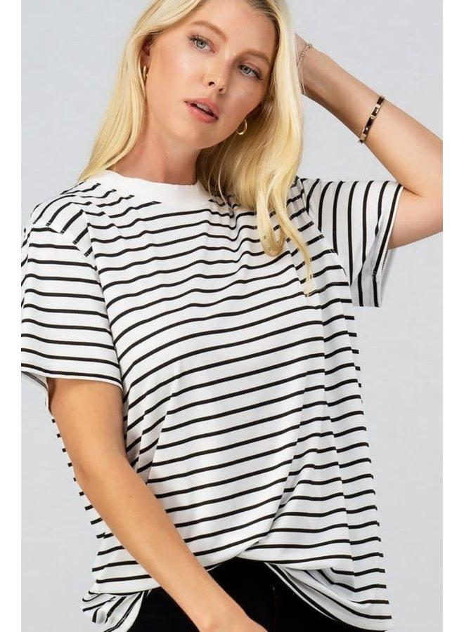 Boyfriend fit oversized white and black stripe short sleeve top