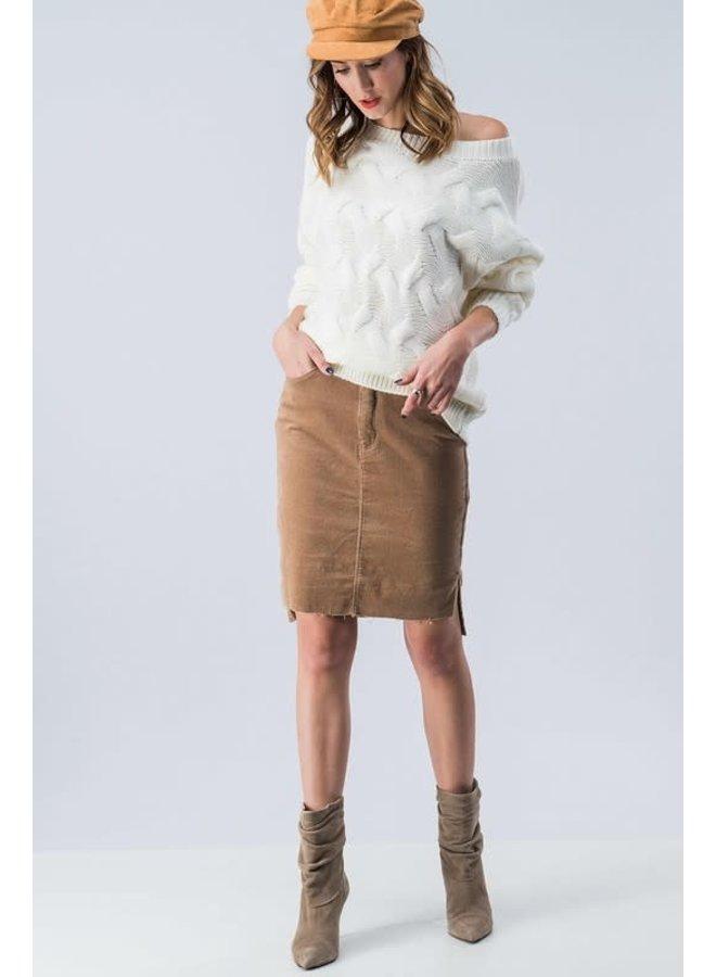 Corduroy knee long skirt with Raw Hem