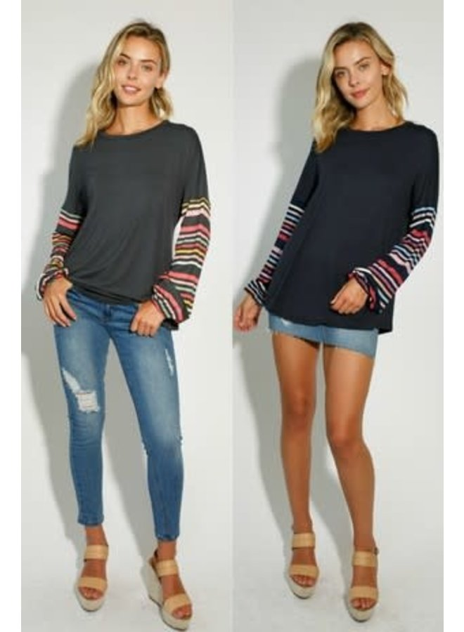 solid and multi stripe round neck long sleeve