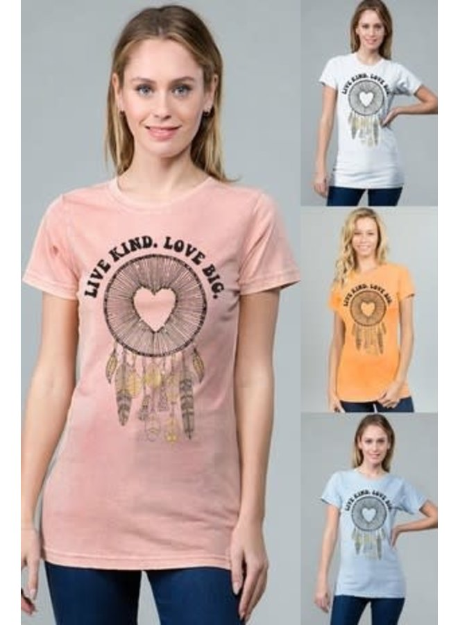 Mineral wash pink with gold glitter graphic tee