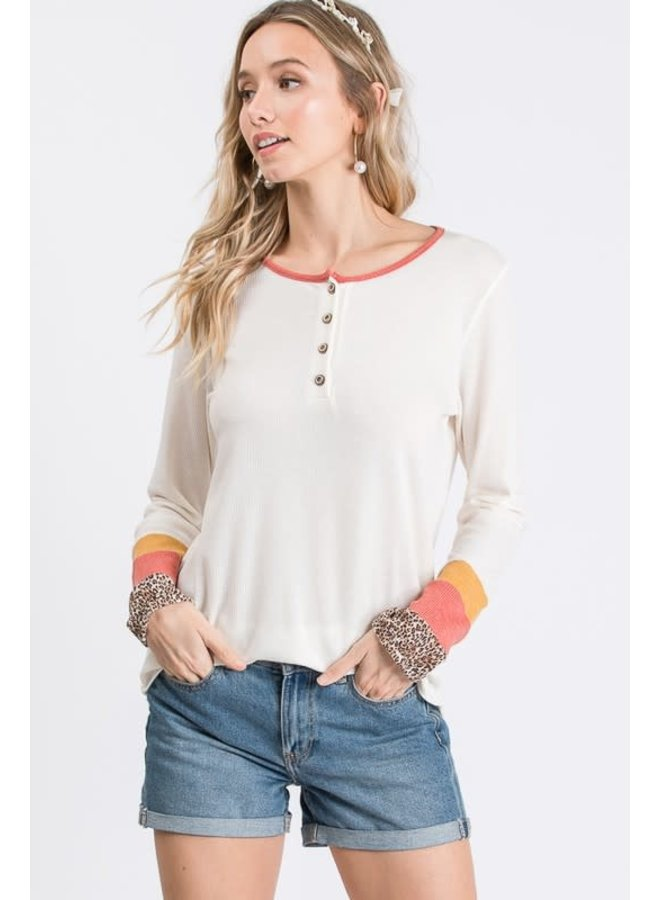 waffle knit button front top